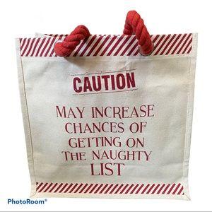 Wine 6 holder tote bag naughty list Christmas